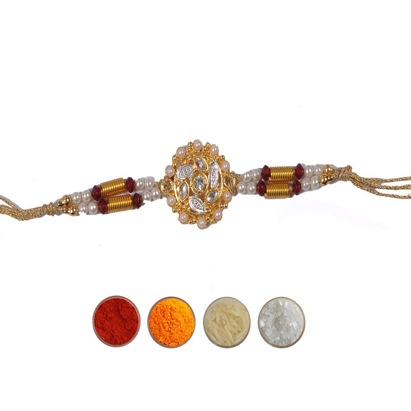 Designer Rakhi with Pearls and Beads