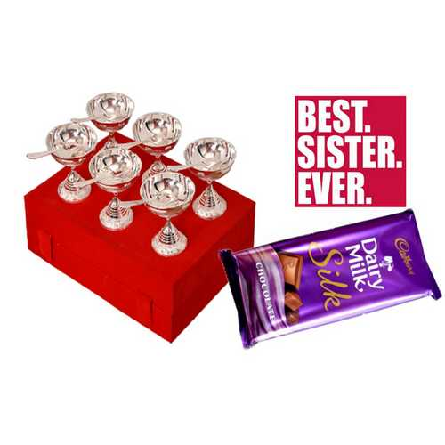 Rakhi Gifts for Sister - Set of Silver Plated Brass 6 Bowls & 6 Spoons Set with Dairy Milk Silk Chocolate
