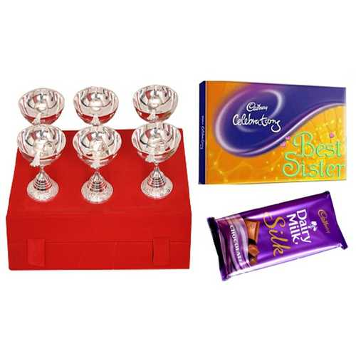 Rakhi Gift for Sister - Set of 6 Silver Plated Brass 6 Bowls & 6 Spoons Set with Cadbury Celebrations & Dairy Milk Bar Chocolate