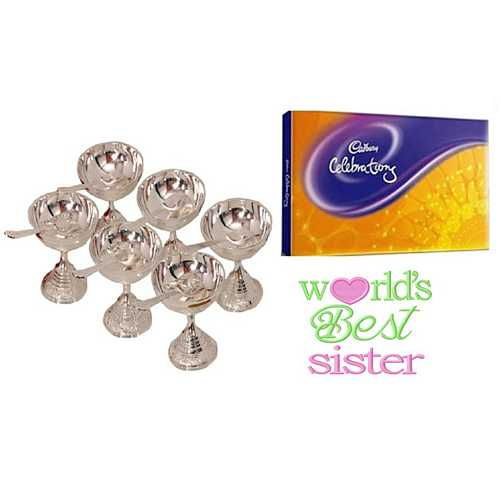 Rakhi Gift for Sister - Set of 6 Silver Plated Brass 6 Bowls & 6 Spoons Set with Cadbury Celebrations