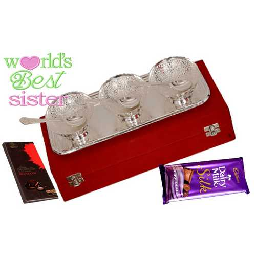 Return Rakhi Gifts for Sister - Silver Plated Brass Icecream Bowls Set with 2 Delicious Chocolates