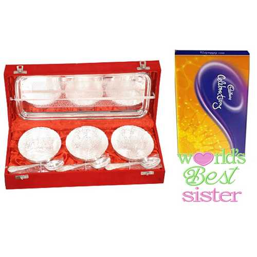 Rakhi Return Gift for Sister - Silver Plated Brass Icecream Bowls Set with Cadbury Celebrations