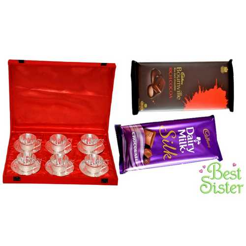 Rakhi Return Gift for Sister - Silver Plated Brass Tea Cups Set of 6 with 2 Delicious Chocolates