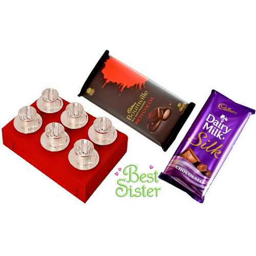 Return Rakhi Gift for Sister - Silver Plated Brass Tea Cups Set of 6 with Silk and Bournville Chocolates