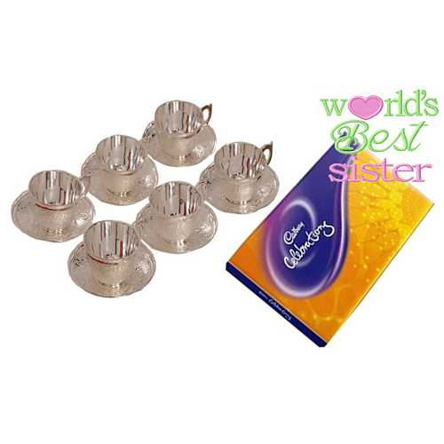 Rakhi Gift for Sister - Silver Plated Brass Tea Cups Set of 6 with Cadbury Celebrations