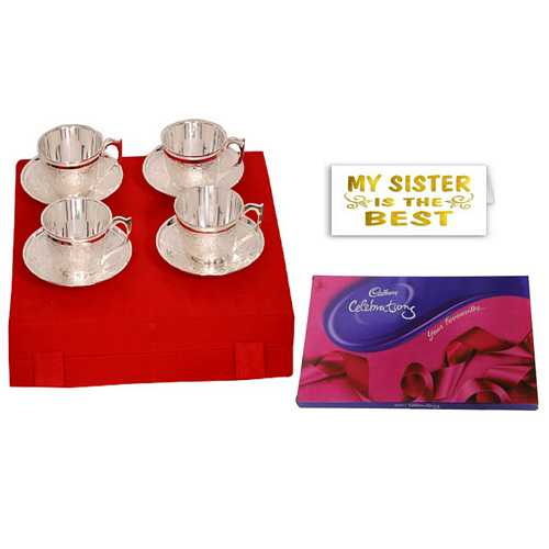 Return Gift for Sister - Silver Plated Brass Tea Cups Set of 4 with Cadbury Celebrations