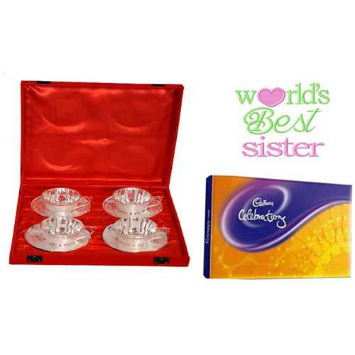 Rakhi Gift Hamper for Sister - Silver Plated Brass Tea Cups Set of 4 with Cadbury Celebrations