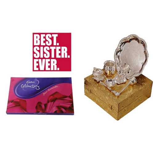 Return Rakhi Gift for Sister - Silver Plated Brass Pooja Thali Set with Cadbury Celebrations
