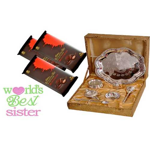 Rakhi Return Gifts for Sister - Silver Plated Brass Puja Thali Set with 3 Dark Bournville Chocolates