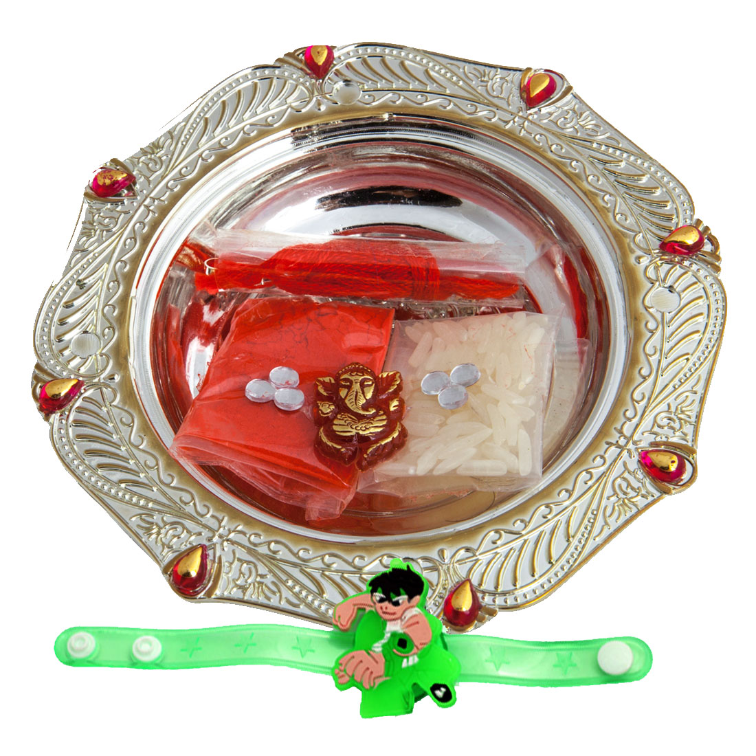Set of Two Fancy Rakhi with Thali