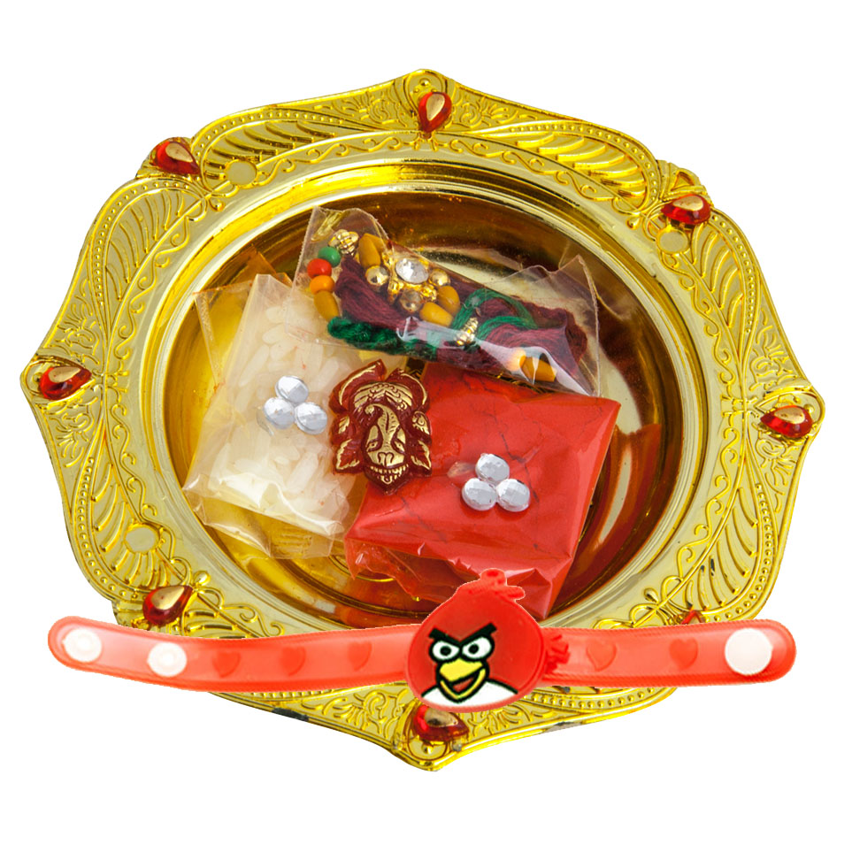 Fancy Rakhi Set with Compact Thali