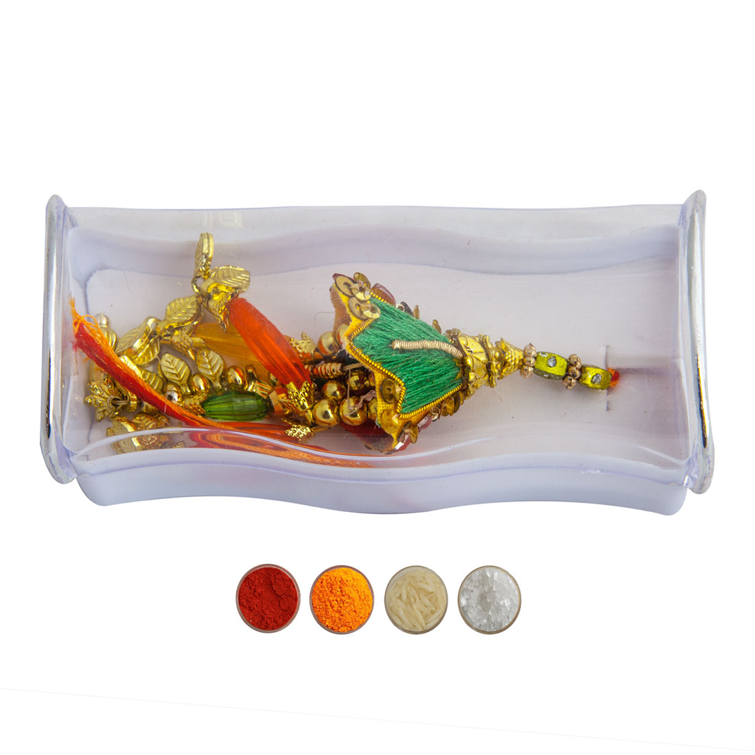Golden Beads Lumba Rakhi
