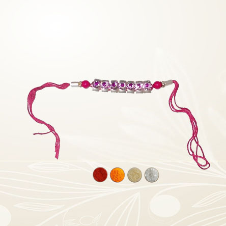 Pink Stone Rakhi Thread