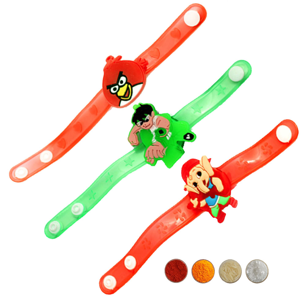 Cartoon Character Kid's Rakhi Set of Three