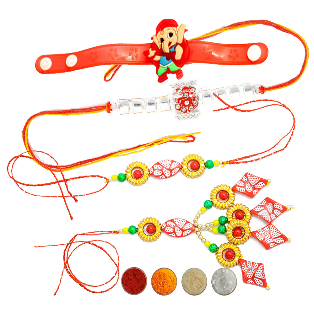 Designer Rakhi Family Set