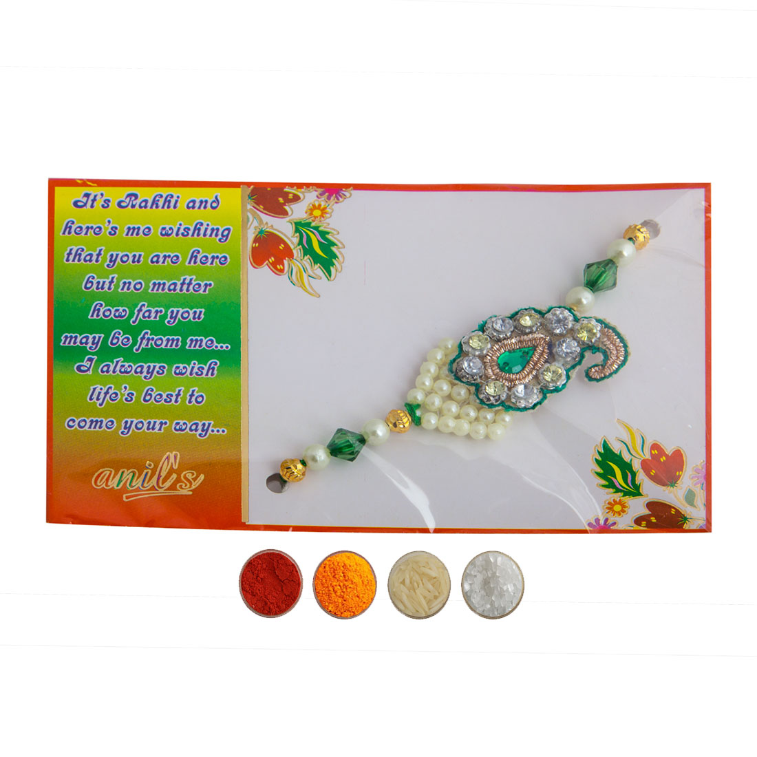 Pearl and Stone Rakhi for Bhaiya