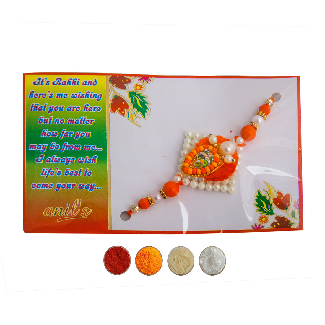 Orange Pearl and Beads Rakhi