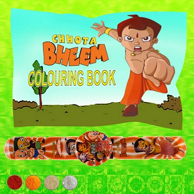 Chhota Bheem Watch Rakhi Band with Coloring Book
