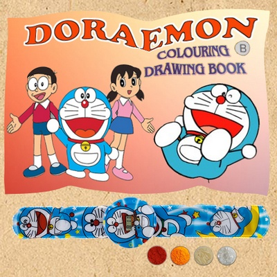 Doraemon Digital Watch Rakhi Band with Coloring Book
