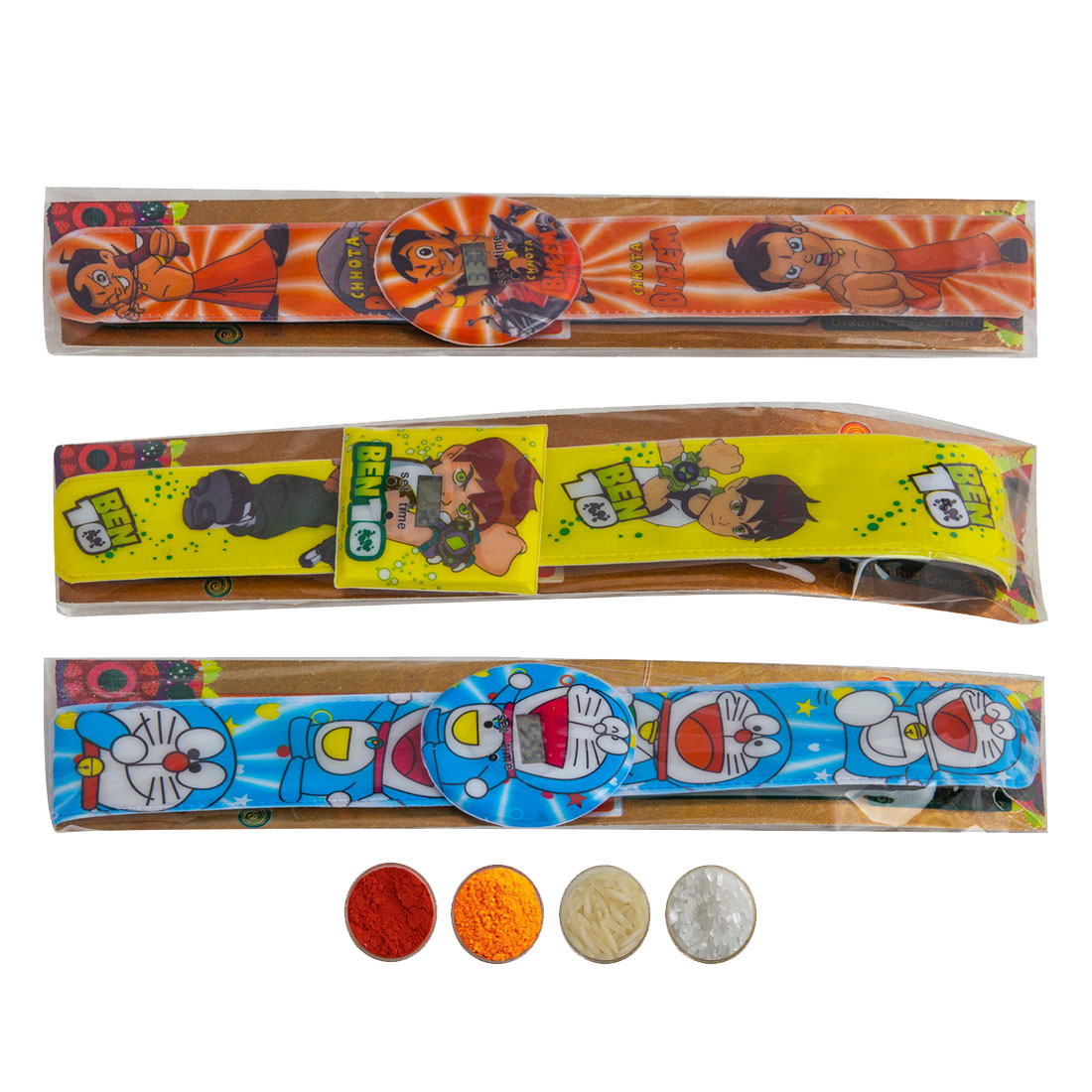 Digital Clock Kid's rakhi set of three