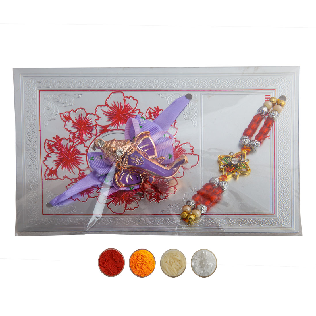 Ganesha Motif and Beads Rakhi Set