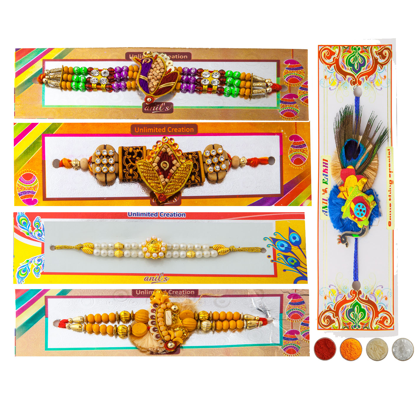 Premium Set of 5 Rakhis
