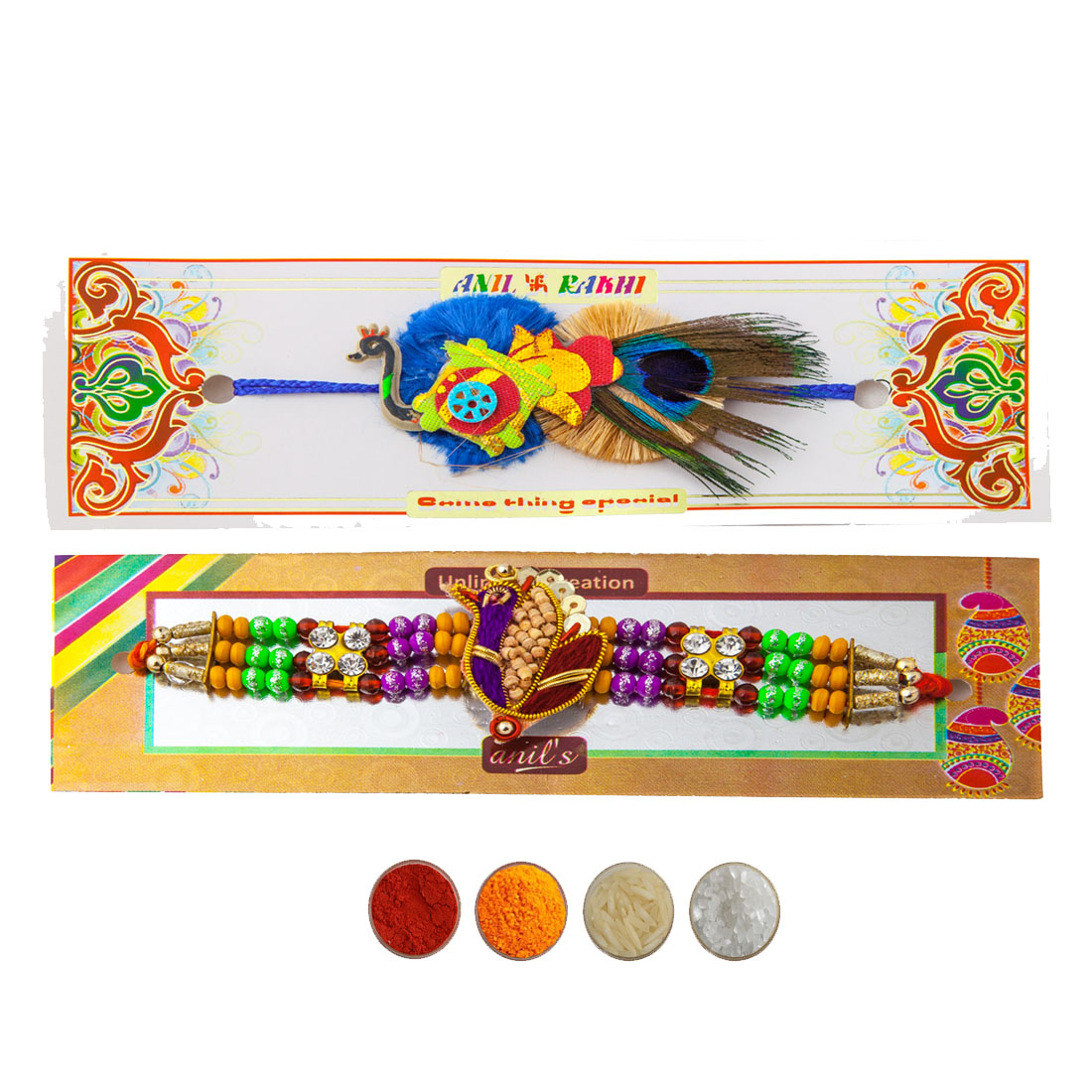 Fancy Peacock Design Rakhi Set