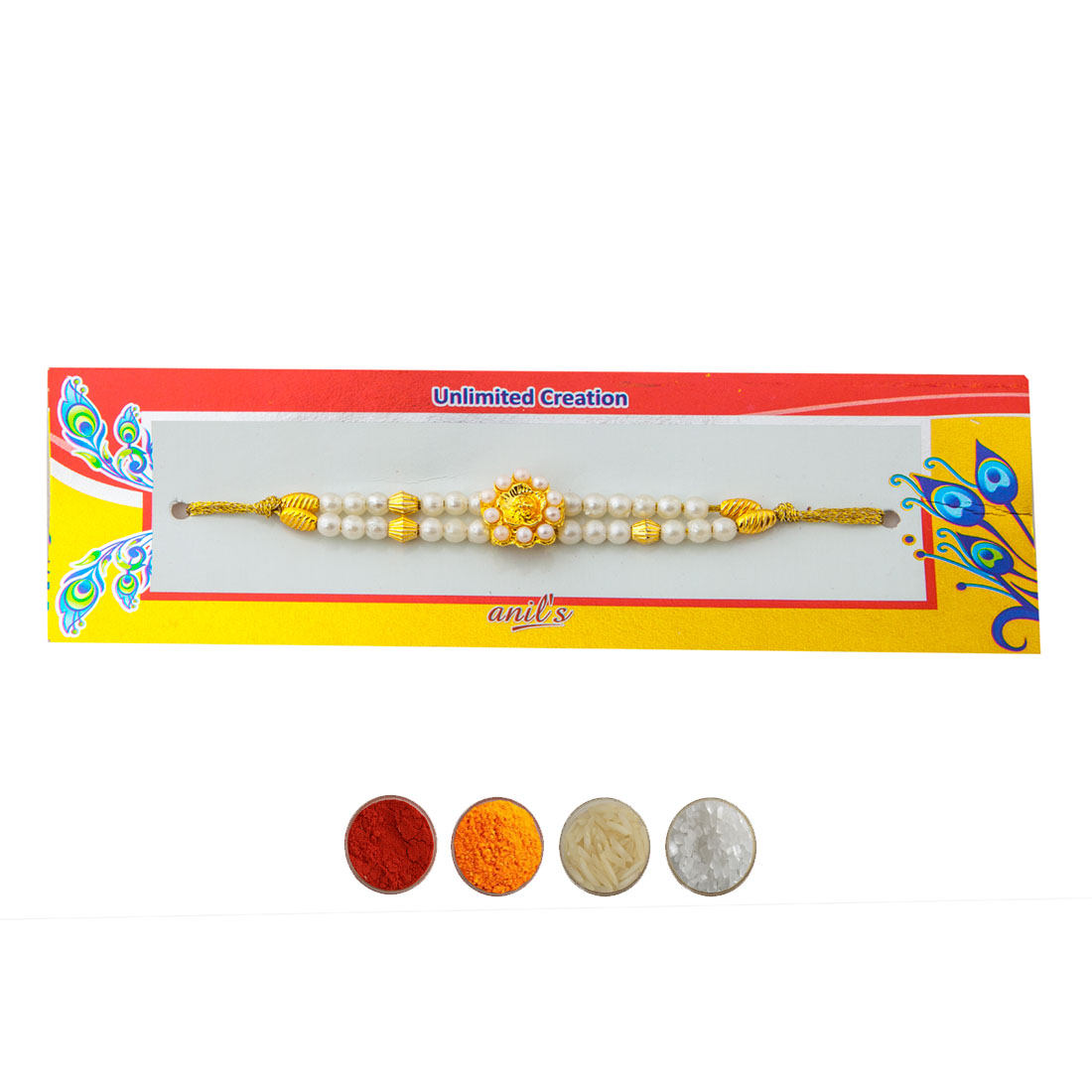 Peal and Golden Beads Rakhi