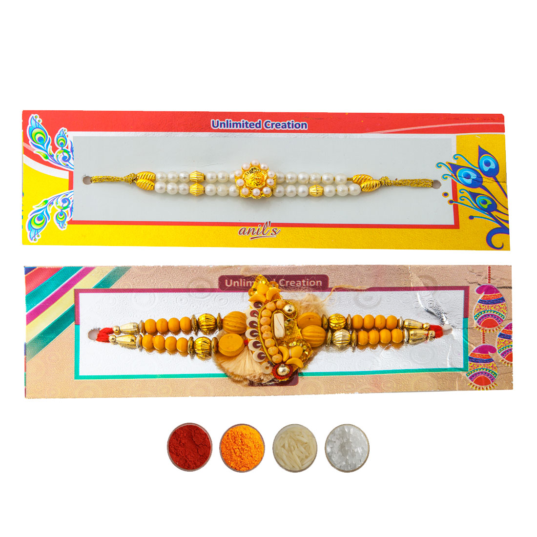 Chandan and Pearl Rakhi Set