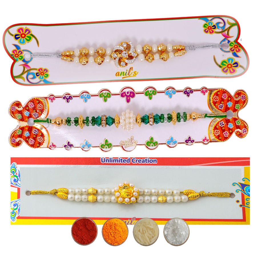 Pearl Rakhi Set of Three