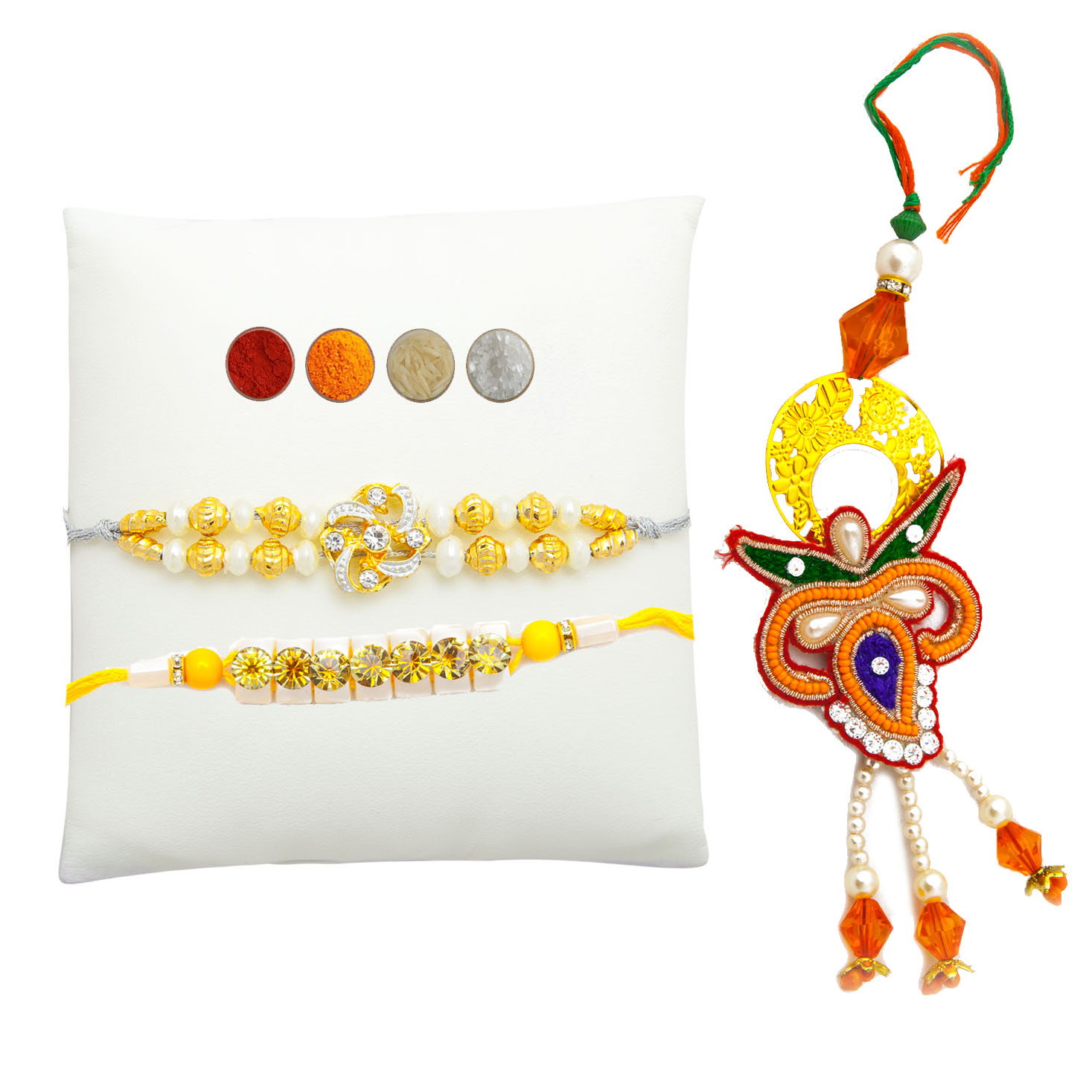 Fancy Designer Rakhi thread set of three