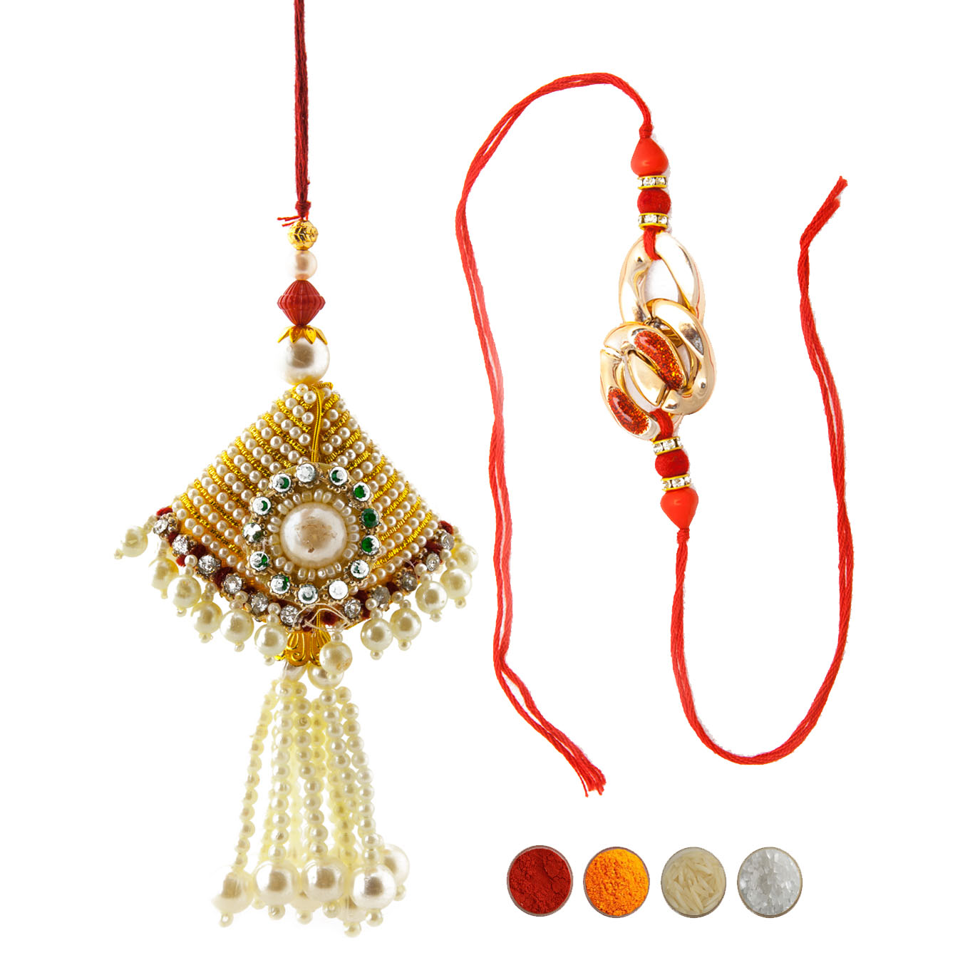 Fancy Rakhi Set for Bhaiya Bhabhi