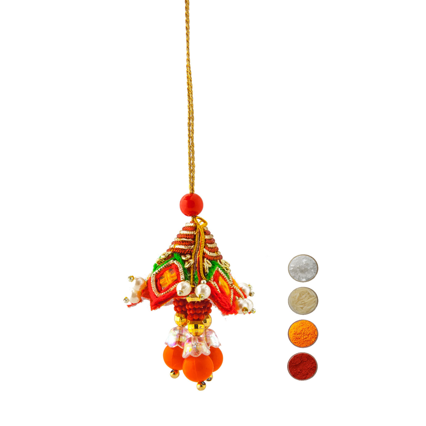 Handcrafted Orange Beads and Peal Lumba Rakhi