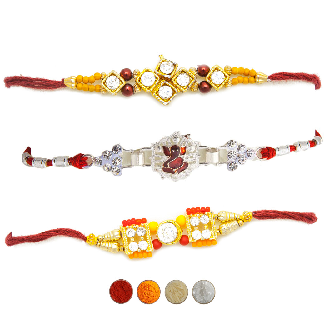 Stone Rakhi Set of three