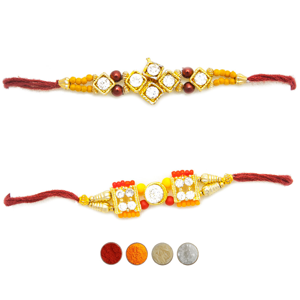 Premium Stone Rakhi Set of Two