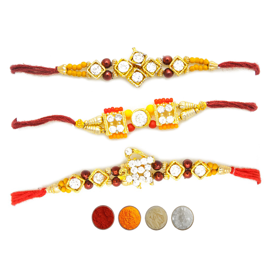 Stone Studded Rakhi Set of Three