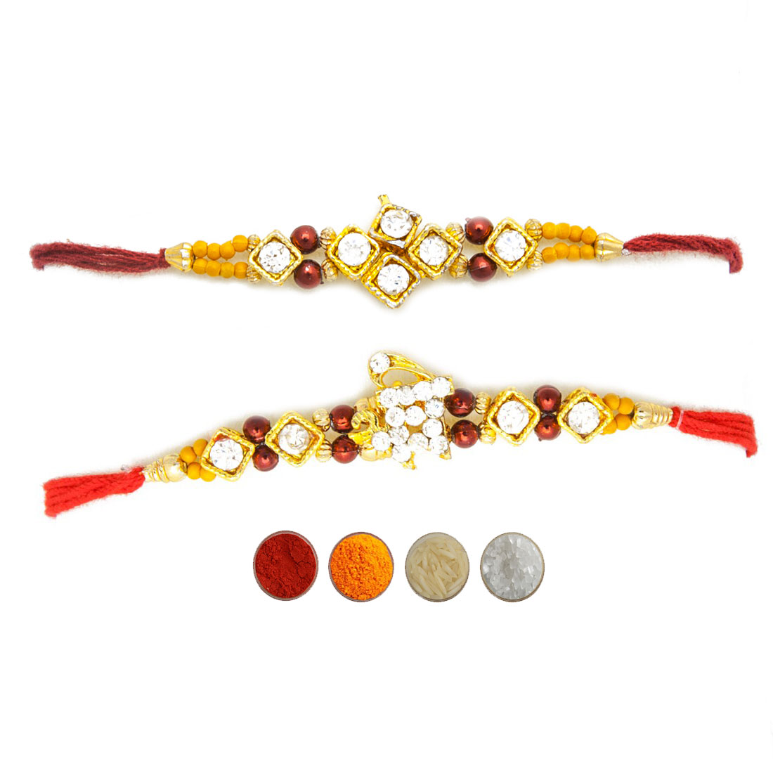 Stone and Beads Rakhi Set