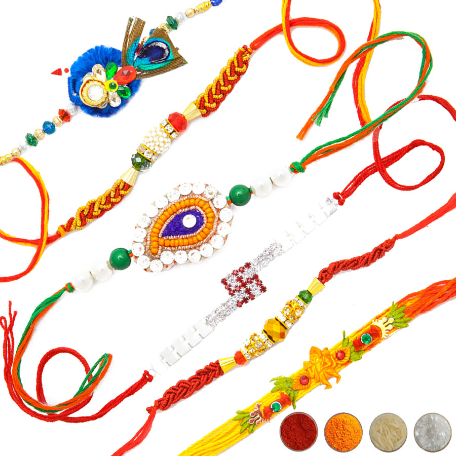 Traditional Rakhi Threads Set of Six