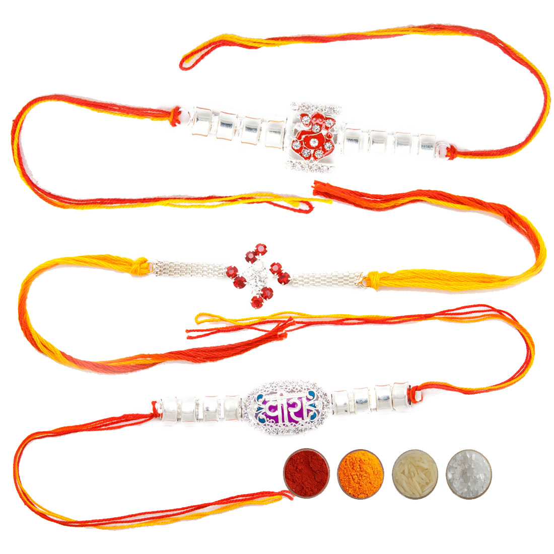 Precious Silver Rakhi set of three