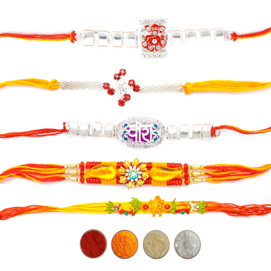 Five Designer Rakhi Set