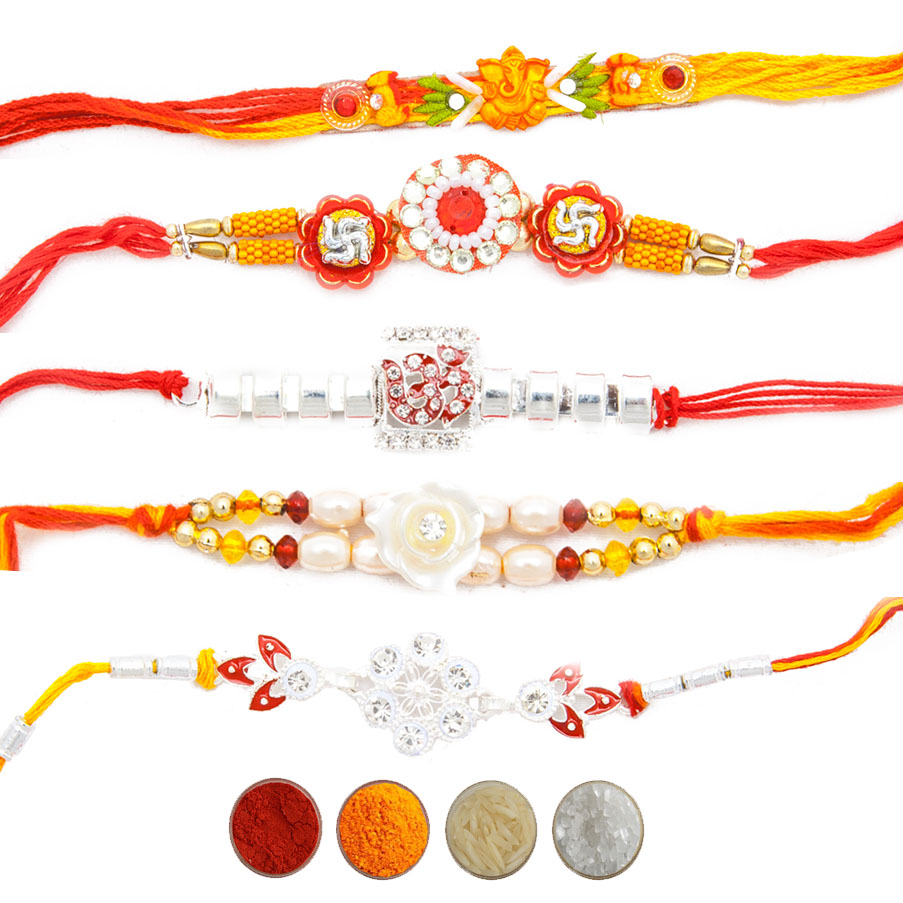 Set of Five Designer Rakhi