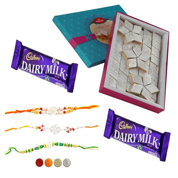 Rakhi Choco Delight with 500g Kaju Katli