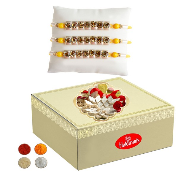 Set of 3 Stud Rakhi with 1kg Kaju Barfi