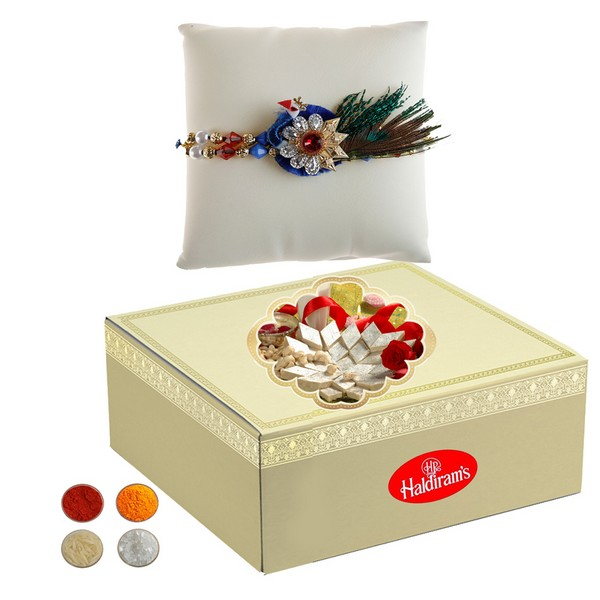 Peacock Rakhi with 500g Kaju Barfi