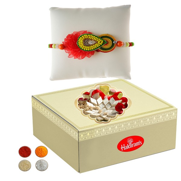 Red Handcrafted Rakhi with 500g Kaju Barfi