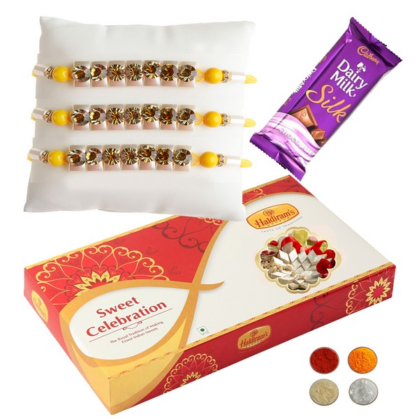 3 Stud Rakhi with Chocolate and 1kg Kaju Katli