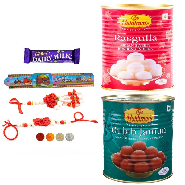 Pearl Rakhi Set with Sweets