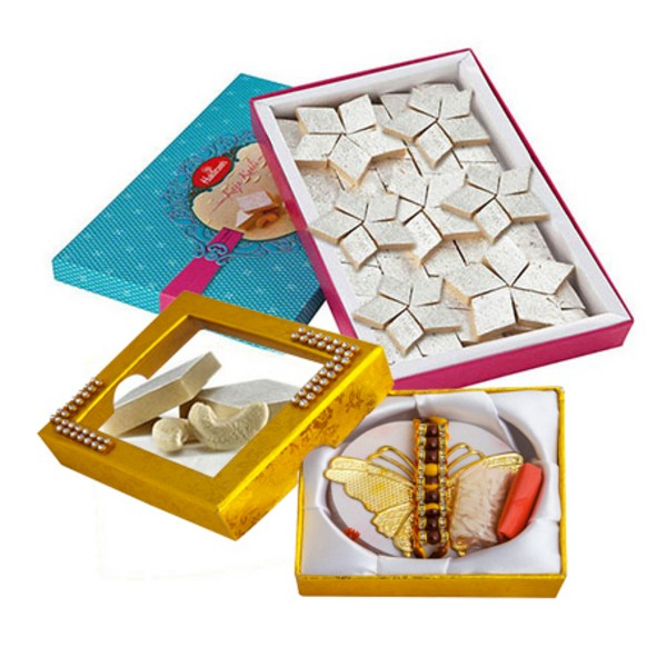 Golden Rakhi with 750g Kaju Barfi