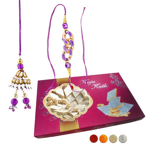 Rakhi for Bhaiya Bhabhi with 500g Kaju Barfi