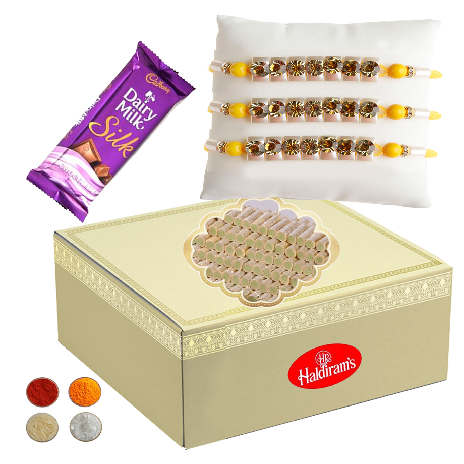 Stone Studded Rakhi with Kaju Rolls